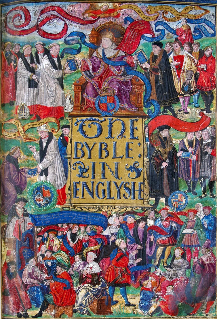 A photograph of the Great Bible's title page.