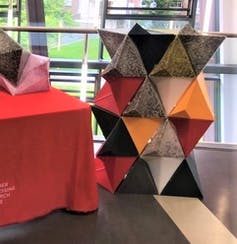 An object construction of different coloured pyramid blocks