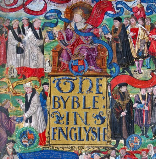 A photograph of the Great Bible's title page