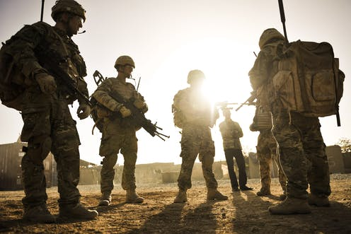 A group of soldiers in Afghanistan.