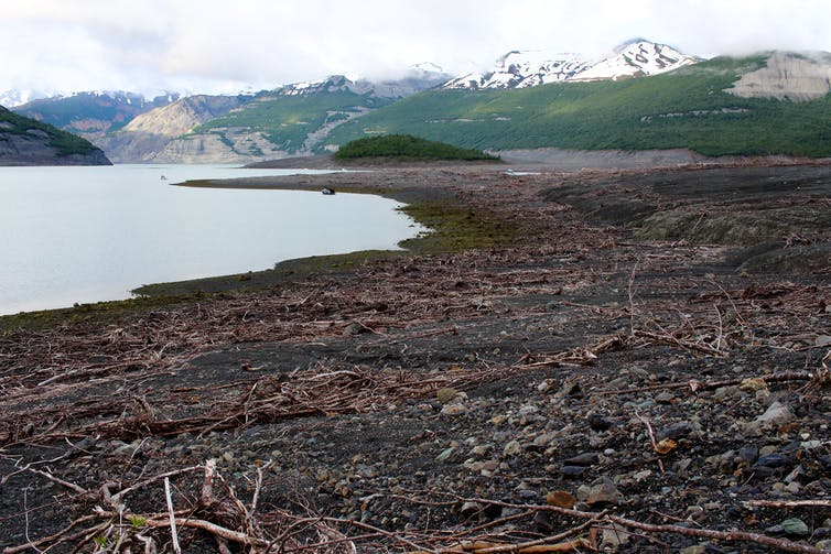 A landscape stripped of trees next to a fiord
