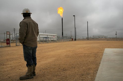 Gas flaring in Texas.