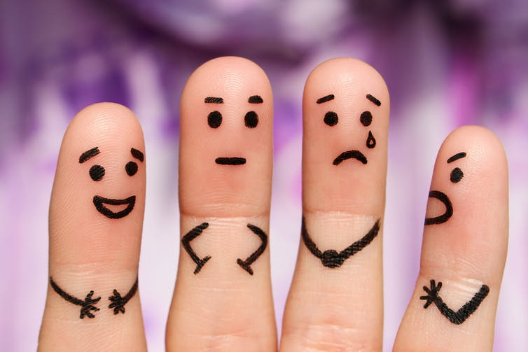 Four fingers representing people with different personalities