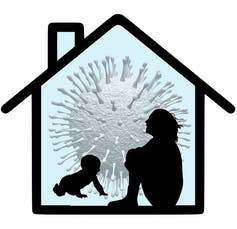 Silhouettes of a woman sitting, hugging her knees, and a crawling baby against the outline of a house and an image of a coronavirus