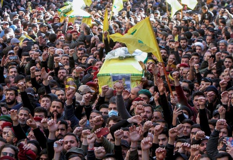 Funérailles de soldats du Hezbollah morts en Syrie, ici à Beyrouth le 3mars 2020.