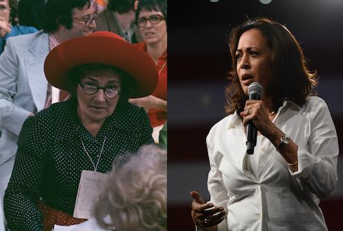 Photos of Congresswoman Bella Abzug, left, and Sen. Kamala Harris, right.