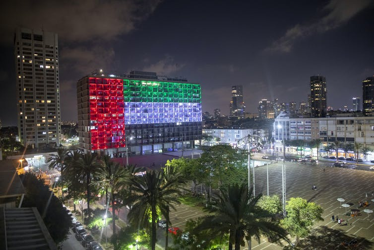 Tel Aviv's city hall lit up with the UAE flag.