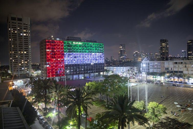 Tel Aviv's city hall lit up with the UAE flag.