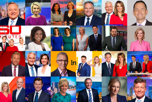 A collage of 32 different television news and current affairs broadcasts with only two people of colour across a wide selection of primetime presenters and hosts.