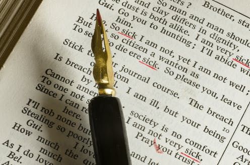 A fountain pen on top of a page of Shakespeare's writing.