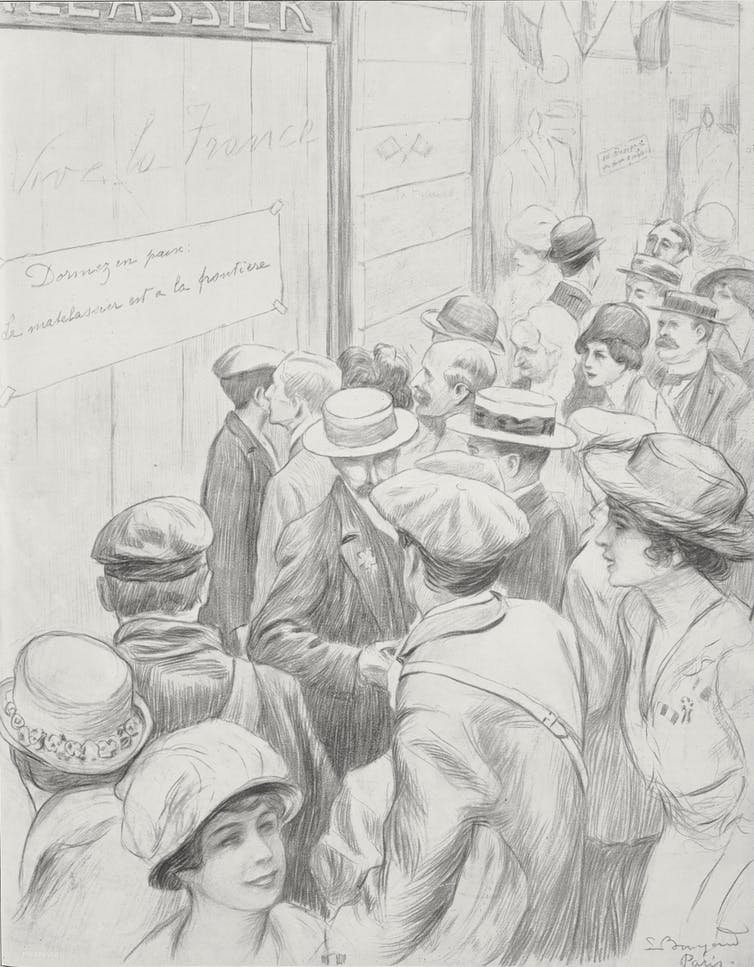 Drawing of Parisians in front of closed store in 1914