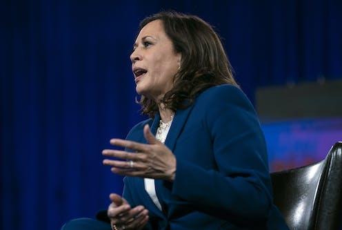 Kamala Harris in mid-speech