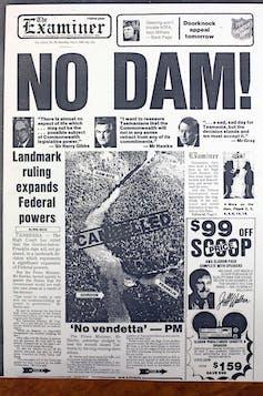NO DAM headline on The Launceston Examiner in 1983.