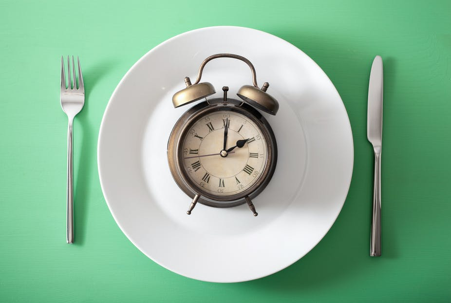 Clock on a white plate with a fork and knife on either side.