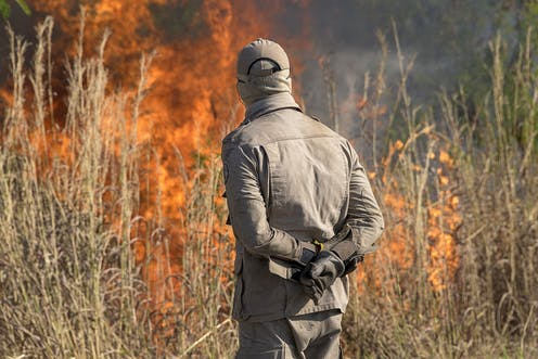 A firefighter stands inspecting a blaze in dry grass.