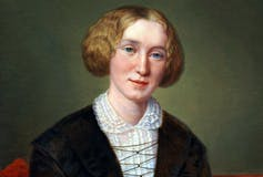 Portrait of writer George Eliot sitting