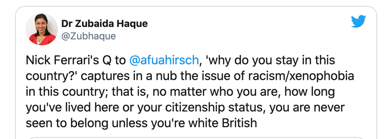 Tweet from Dr Zubaida Haque about racism and xenophobia in Britain