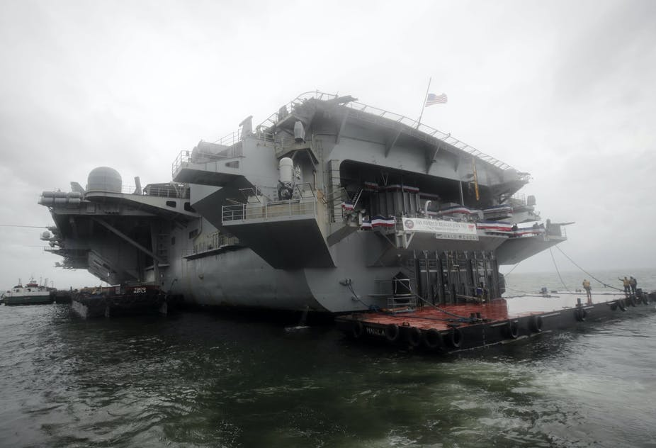 The back of a US aircraft carrier.