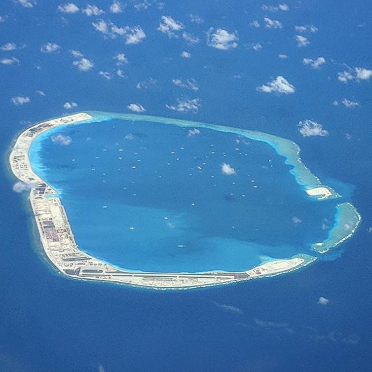 Island reef in South China Sea developed by China.