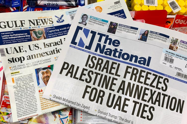 A photo of newspapers heralding the Israel-UAE 'peace deal'