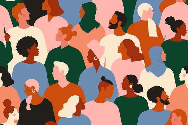 Artistic image of a crowd of faces.