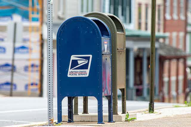 United States Postal Service mailboxes in downtown Danville, Pennsylvania.