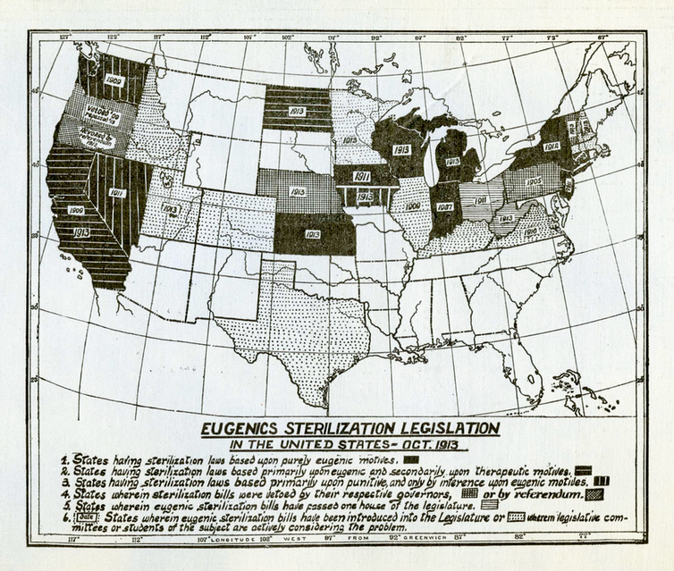 An old map of the United States showing the status of state eugenics laws in 1913. About half the states either have laws or are in the process of creating them.