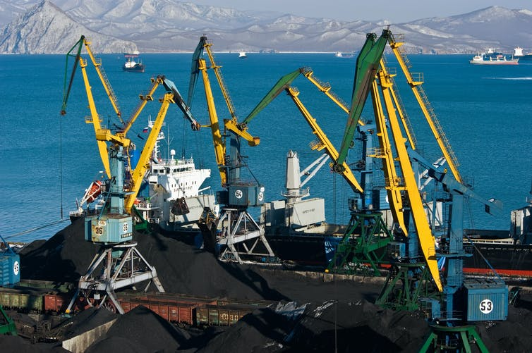 Coal on a ship at the Japanese port of Nakhodka.