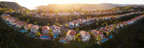 A panoramic photograph of a sunny California city