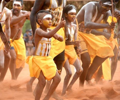 Gumatj clan dancers perform at a festival