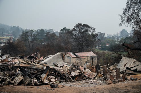 The remains of a house flattened by bushfires