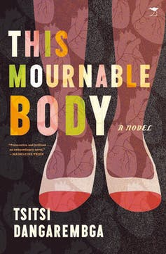 A book cover with an illustration of a black woman's legs in red and white shoes and stockings with human heart patterns.