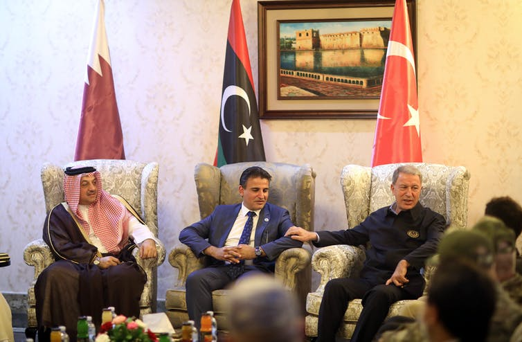 Defence ministers from Turkey, Libya and Qatar meeting in Tripoli on August 17.