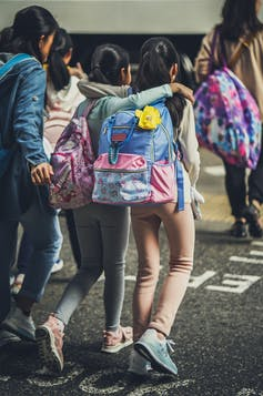two girls wearing backpacks with their arms around each other