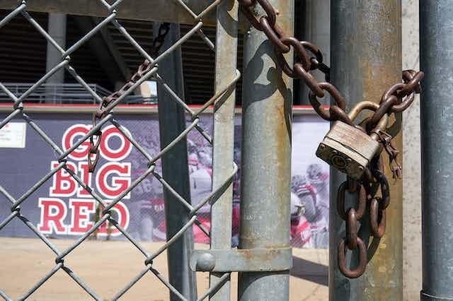 A locked gate at Memorial Stadium, home of the University of Nebraska Cornhuskers.