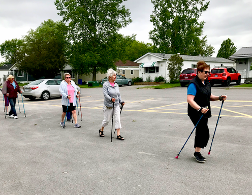 Four Oasis members pole walking through their mobile home community