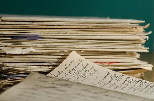 Piles of handwritten letters