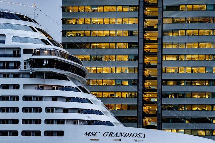 Cruise liner in port of Rotterdam