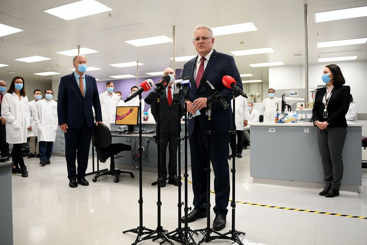 Scott Morrison at a press conference at Astra Zeneca laboratories.