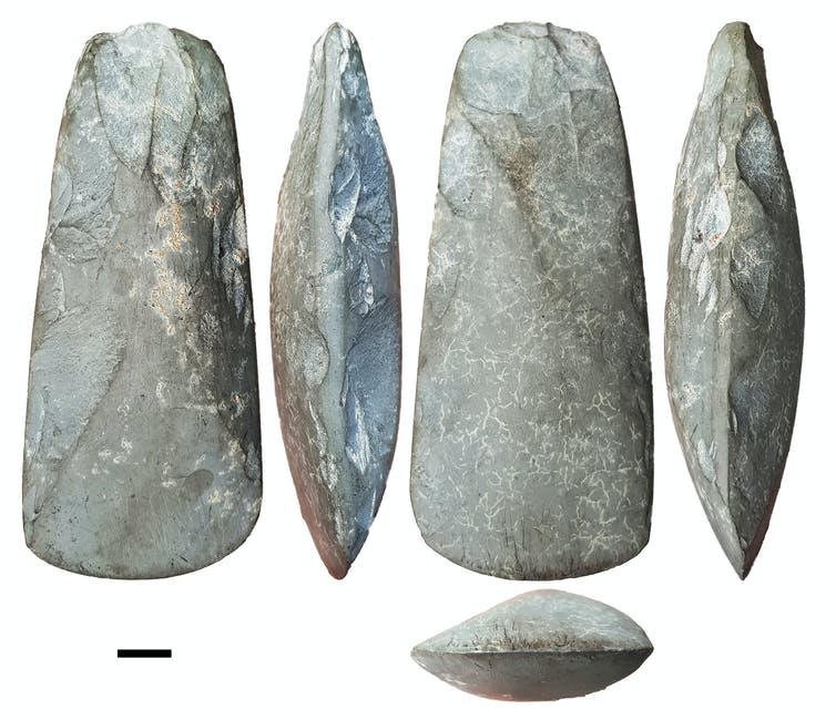 Various views of stone axes
