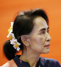 Image of Aung San Suu Kyi, leader of Myanmar's National Democratic party