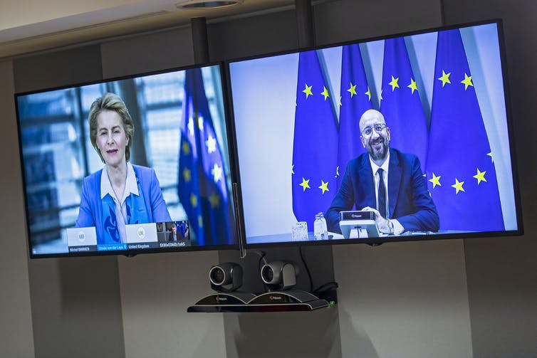European Council President Jean Michel and European Commission President Ursula von der Leyen on video screens.