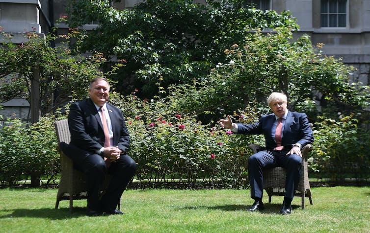 UK premier Boris Johnson meeting US Secretary of State Mike Pompeo in London in July.