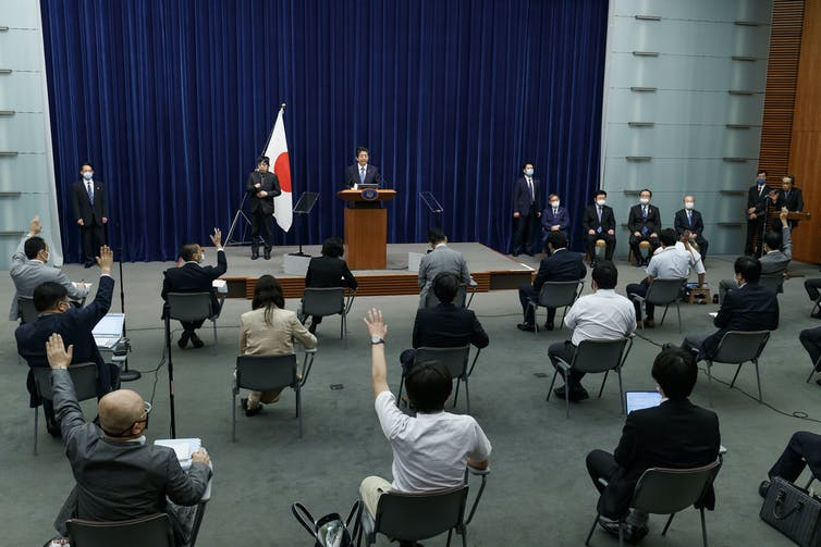 Japanese Prime Minster Shinzo Abe holds a press conference.