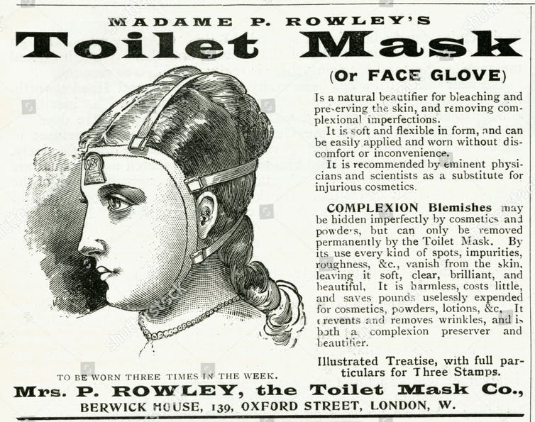 Advertisement for Rowley's Toilet Mask shows woman with rubber face shield.