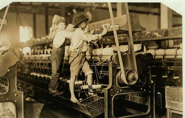 Cotton mill 'helpers' would work all day long.