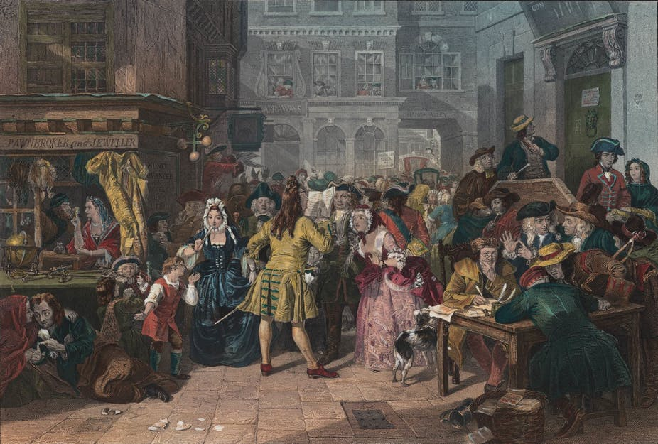 Painting depicting the panic of the South Sea bubble.