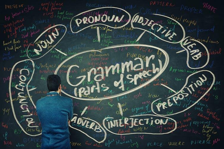 Man looks at writing on blackboard.