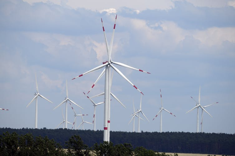 Wind turbines with red tips