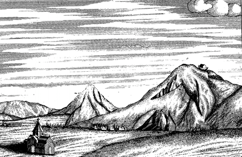 Engraved illustration of mountain range with church in foreground